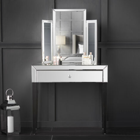 Laguna x Paloma Silver Luxury Set Mirrored Dressing Console Table With Drawer And Tri-fold Desktop Mirror