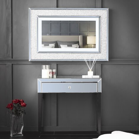 Laguna x Valentina Grey Combination Set Including Laguna Mirrored Console Dressing Table with Drawer And Valentina Diamond LED Wall Mirror