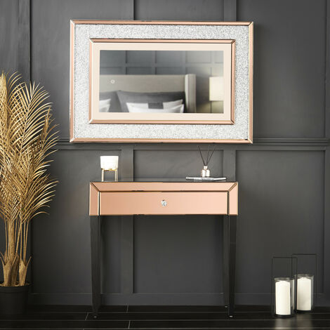 Laguna x Valentina Rosegold Combination Set Including Laguna Mirrored Console Dressing Table with Drawer And Valentina Diamond LED Wall Mirror