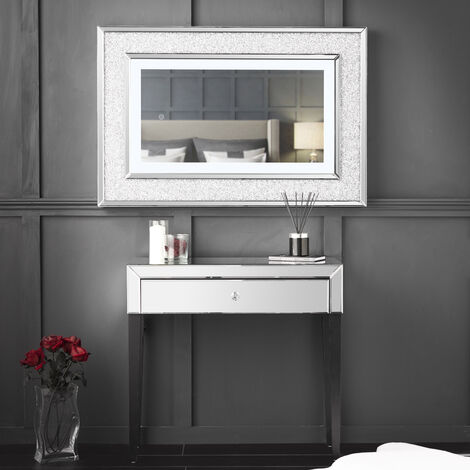 Laguna x Valentina Silver Combination Set Including Laguna Mirrored Console Dressing Table with Drawer And Valentina Diamond LED Wall Mirror
