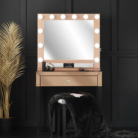 Laguna x Willow Rosegold Combination Set Including Mirrored Console Table and Desktop Mirror with Hollywood Bulbs, Bluetooth Speaker, USB Charger and Plug