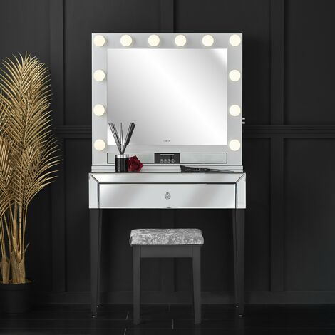Laguna x Willow Silver Combination Set Including Mirrored Console Table and Desktop Mirror with Hollywood Bulbs, Bluetooth Speaker, USB Charger and Plug
