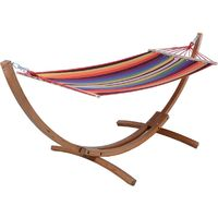 Laid-back Wooden Hammock 'Dallas' 3M - Mixed Red
