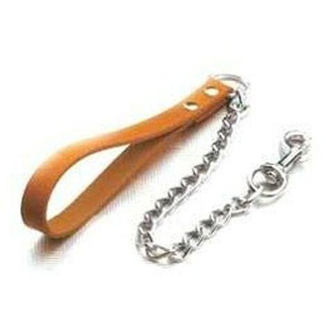 laisse chien avec poignee en cuir | chaîne de prise en main naturelle | chien chaîne de marche de 120 cm x 1,6 mm