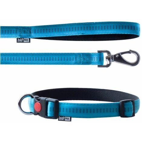 Laisse et collier Soft Style 2 cm taille L (33 à 53 cm) x L. 120 cm en nylon Turquoise/Noir pour chien - JN43 - Happet