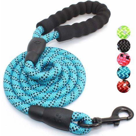Laisse pour chien en corde ronde réfléchissante bleue de 1,5 m