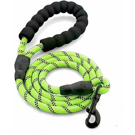 Laisse pour chien en corde torsadée avec poignée rembourrée douce, fils très réfléchissants et forte capacité de résistance à la traction 1,5 m