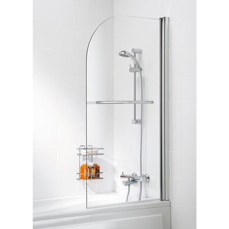 Lakes Classic Curved Bath Screen with Towel Rail 1400mm H x 800mm W - 6mm Glass