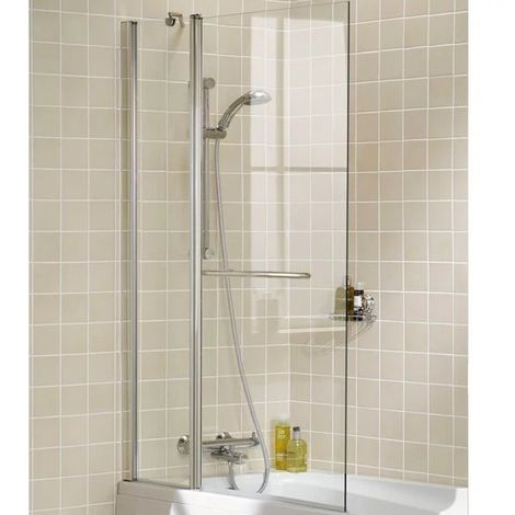 Lakes Classic Double Panel Square Bath Screen with Towel Rail 1500mm H x 944mm W - 6mm Glass