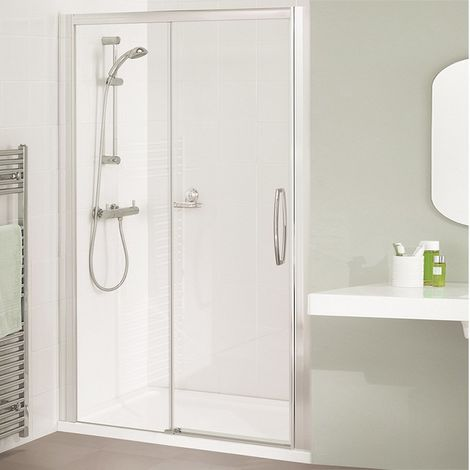 Lakes Classic Low Threshold Semi Frameless Sliding Shower Door 1850mm H x 1300mm W - Right Handed