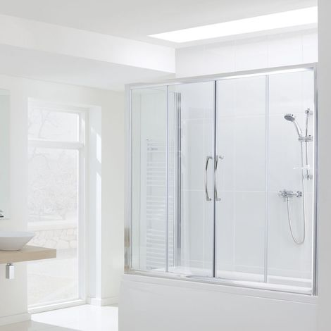Lakes Classic Over Bath Semi Frameless Double Sliding Door 1500mm H x 1600mm W - 6mm Glass