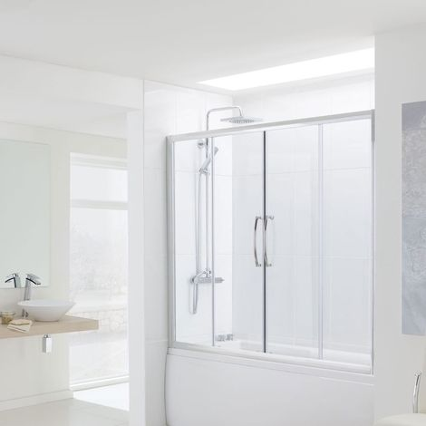 Lakes Classic Over Bath Semi Frameless Double Sliding Door 1500mm H X 1800mm W - 6mm Glass