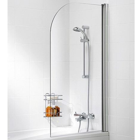 Lakes Classic Single Panel White Framed Curved Bath Screen 1400mm H x 800mm W - 6mm Glass