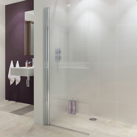 Lakes Coastline Alassio Hinged Walk-In Shower Screen 1900mm H x 700mm W - 8mm Glass