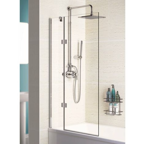 Lakes Coastline Hinged Bath Screen 1500mm H x 1000mm W - Left Handed