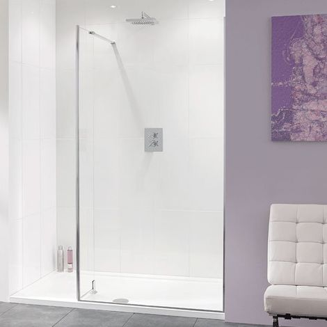 Lakes Coastline Nice Walk-In Shower Screen 2000mm H x 900mm W - 10mm Glass