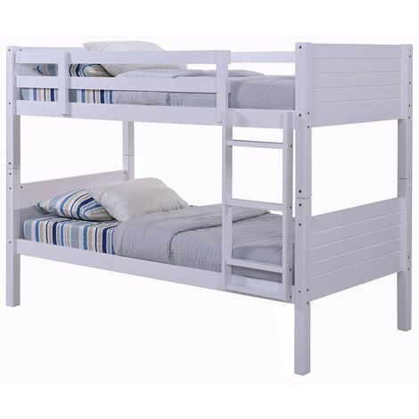 Lala White Wooden Bunk Bed, Converts To 2 Small Single Beds (Frame Only) - 3FT Single