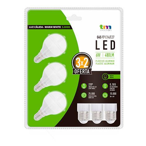 LAM. LED 3x PA ALUM. G45 E14 6W 3.000K