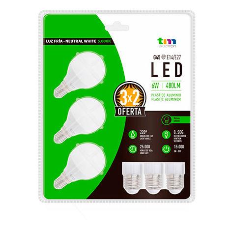 LAM. LED 3x PA ALUM. G45 E14 6W 5.000K