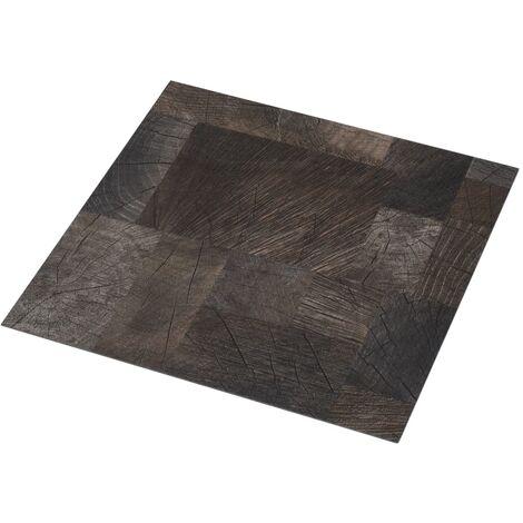 Lama de suelo PVC autoadhesiva marrón estructura madera 5,11 m²