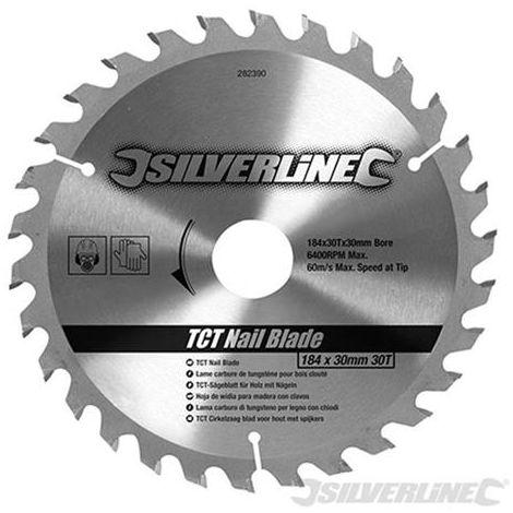 Lama TCT per legno con chiodi 30 denti Silverline 184 x 30 - senza anello di riduzione