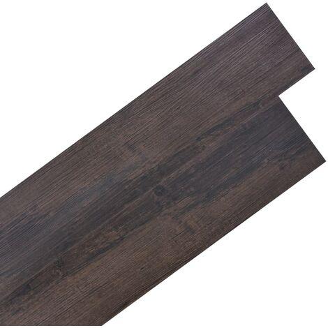 Lamas de suelo de PVC autoadhesivas marrón oscuro 5,02 m² 2 mm