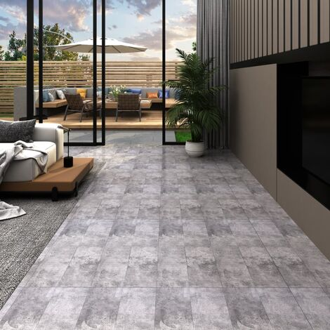 Lamas para suelo de PVC autoadhesivas marrón cemento 5,02m² 2mm