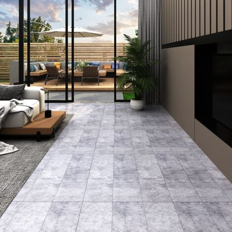 Lamas para suelo de PVC gris cemento 4,46 m² 3 mm