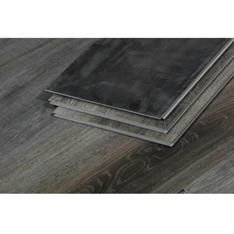 Lamas para suelo PVC - 3.3 m² - 4 mm - Gris oscuro