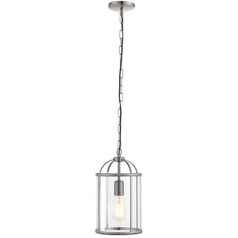 Lambeth Satin Nickel Effect Plate & Clear Glass Shade 1Lt Ceiling Pendant Light