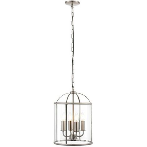 Lambeth Satin Nickel Effect Plate & Clear Glass Shade 4Lt Ceiling Pendant Light