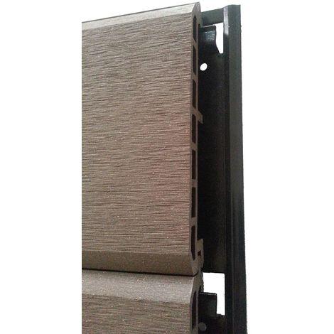 Lame bardage clin clic chocolat en composite 2.60 m pose sur rail.