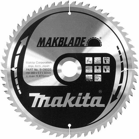LAME CARBURE MAKITA ''MAKBLADE'' BOIS, POUR SCIES RADIALES ET À  ONGLETS Ø 305 MM (60 DENTS) -B-09036 - -