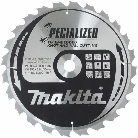 LAME CARBURE MAKITA POUR BOIS Ø 355 MM (24 DENTS) -B-09385 - -