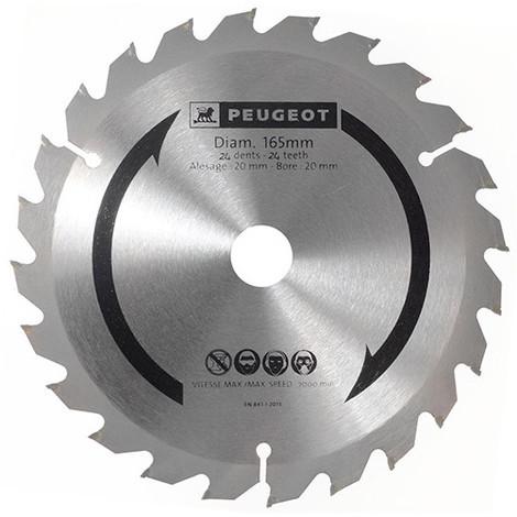 Lame carbure pour scie circulaire D. 165 x 20 mm x Z 24 - Bois - 801320 - Peugeot - -