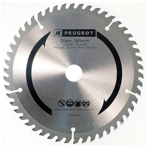 Lame carbure pour scie circulaire D. 165 x 20 mm x Z 50 - Bois / PVC - 801321 - Peugeot - -