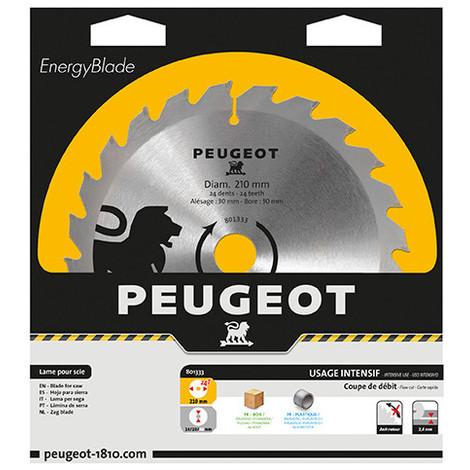 Lame carbure pour scie circulaire D. 210 x 30 mm x Z 24 - Bois - 801333 - Peugeot - -
