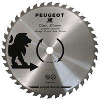 Lame carbure pour scie circulaire D. 210 x 30 mm x Z 40 - Bois - 801334 - Peugeot - -