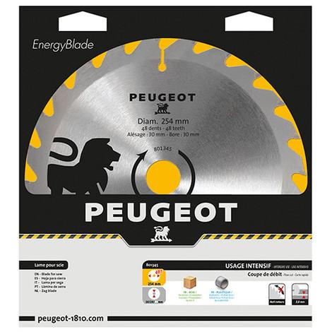 Lame carbure pour scie circulaire D. 254 x 30 mm x Z 48 - Bois - 801345 - Peugeot - -