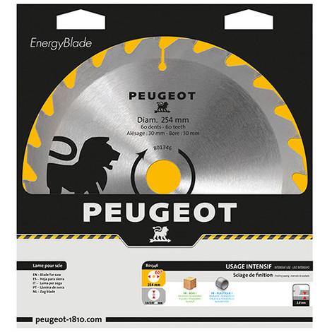 Lame carbure pour scie circulaire D. 254 x 30 mm x Z 60 - Bois - 801346 - Peugeot - -