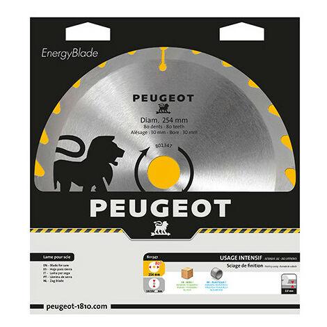 Lame carbure pour scie circulaire D. 254 x 30 mm x Z 80 - Bois/alu/PVC - 801347 - Peugeot - -