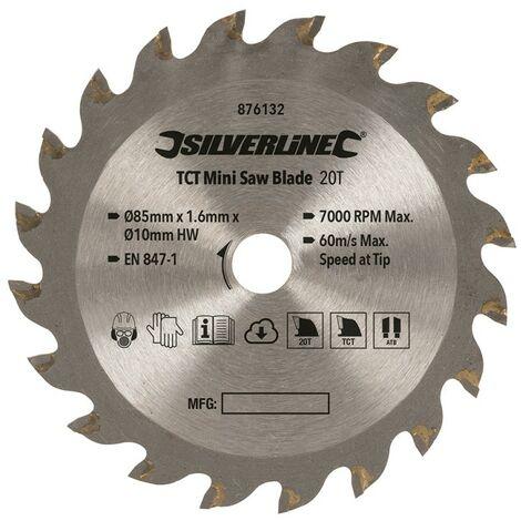 Lame de mini-scie TCT - ø 85 mm - Alésage 10 mm - 20 dents