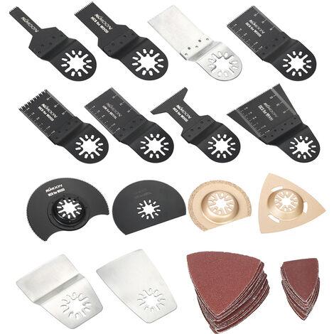 Lame de scie a lame oscillante hybride KKmoon, accessoires de finition pour outils electriques, lame de scie multifonctionnelle en acier a haute teneur en carbone, 66 pieces