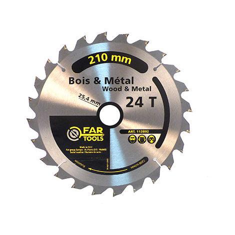 Lame de scie à onglet bois / métal - 24 TPI - D. 210 x Al. 24,5 mm - -