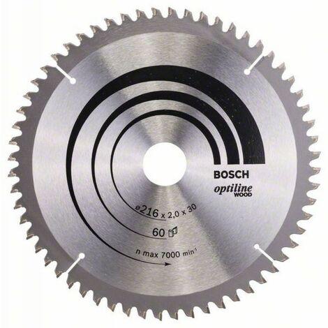Lame de scie à onglet & radiales Optiline Wood ø 216 AL 30 mm 60 Dents BOSCH 2608640433