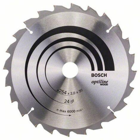 Lame de scie à onglet & radiales Optiline Wood ø 254 AL 30 mm 24 Dents BOSCH 2608640434