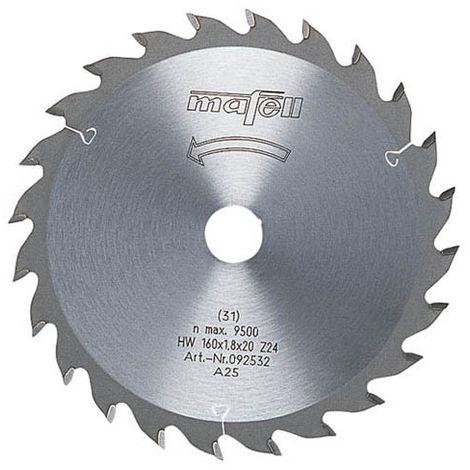 Lame de scie au carbure HM MAFELL 24 dents denture alternée 160x1.2 / 1.8x20 mm - 92533