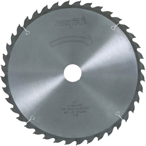 Lame de scie au carbure MAFELL Z40 denture alternée 250x2.8 / 2.8x30 mm - 92465