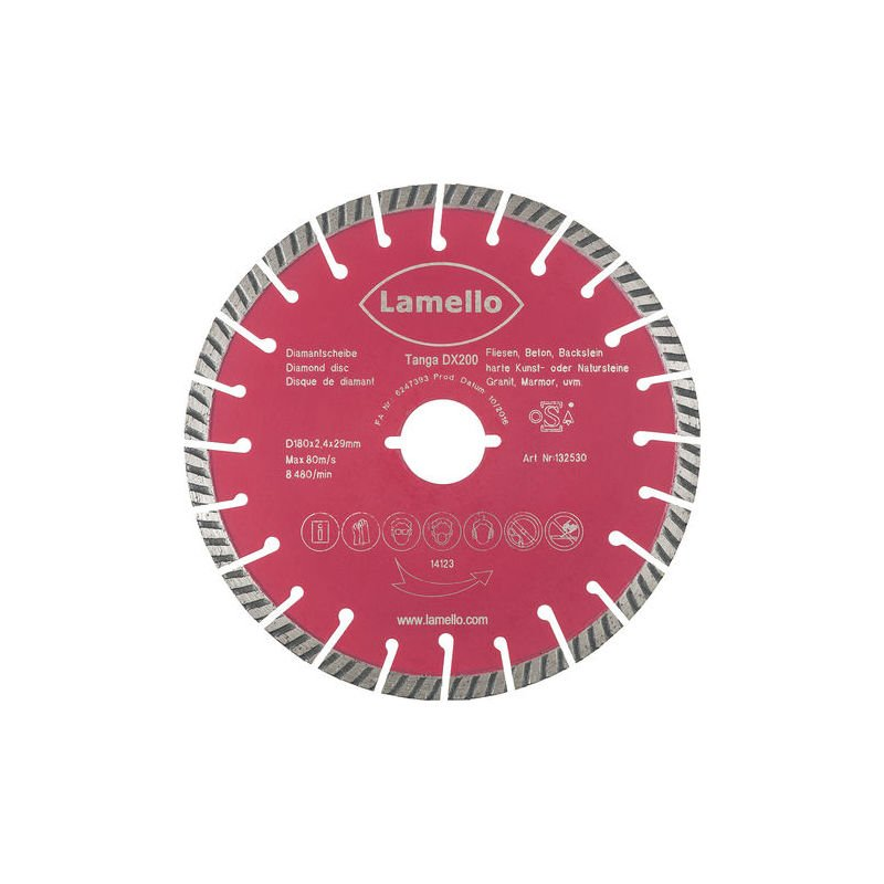 Lame De Scie Circulaire O180 X 2 4 X 29 Mm Lamello Diamant Prof 60 Mm Pour Beton Brique 132530