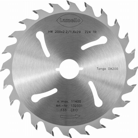 Lame de scie circulaire Ø200 x 2.2 x 29 mm LAMELLO - Métal dur Z24 - Prof.70 mm - Pour fenêtre bois - 132331